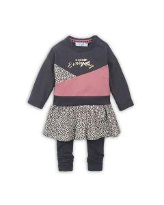 Dirkje 2 delig babypakje jurkje  donker bruin met donker oud roze met aop