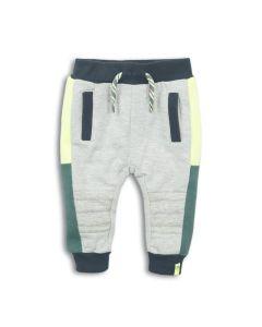 Dirkje baby jogging broekje  grijs melee met navy met neon geel