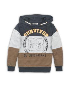 DJ Dutchjeans sweater met hoodie Camel  donker grijs  grijs melee