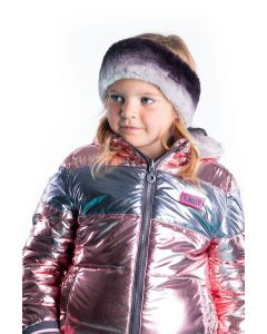 B.nosy girls reversible jacket with gradient stripe fur and metallic shell Light pink