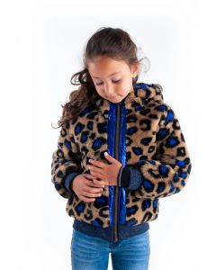 B.nosy girls reversible jacket with leopard fur and artwork on backside  Cobalt