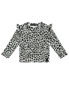 Your Wishes Leopard Camo-Ruffle Shoulder Top